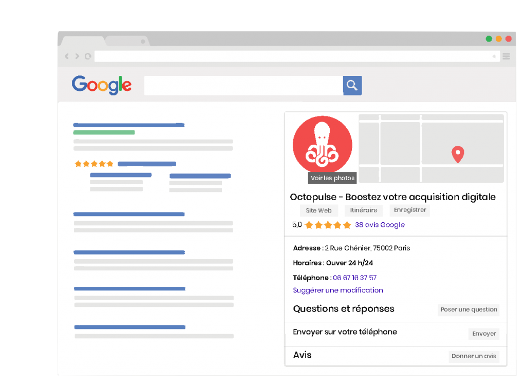 Affichage de Google my Business sur Desktop