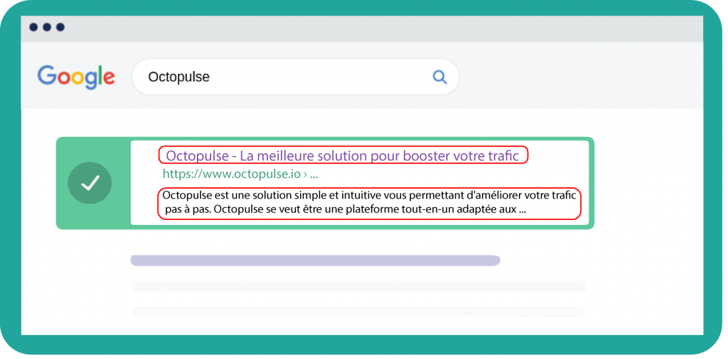 Aperçu de l'affichage des balises Title et Meta Description sur la page de résultats de Google.