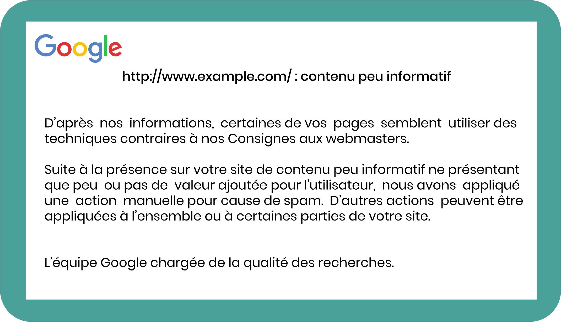 Exemple d'avertissement Google concernant un contenu peu informatif sur un site