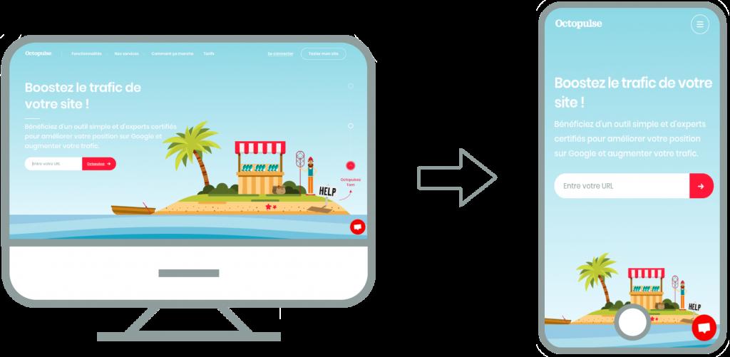 Démonstration d'un site web responsive avec ses versions desktop et mobile.