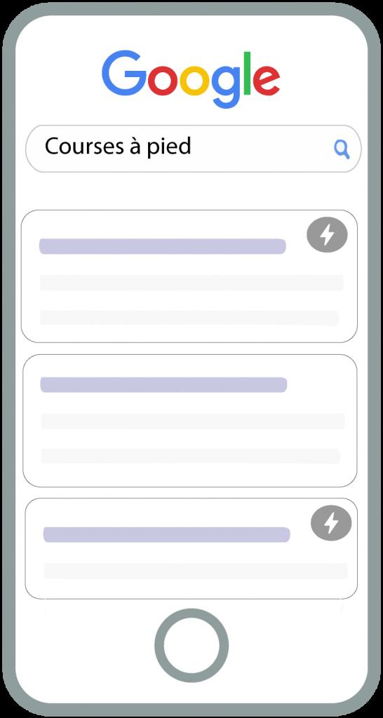 Affichage du sigle AMP sur la page de résultats