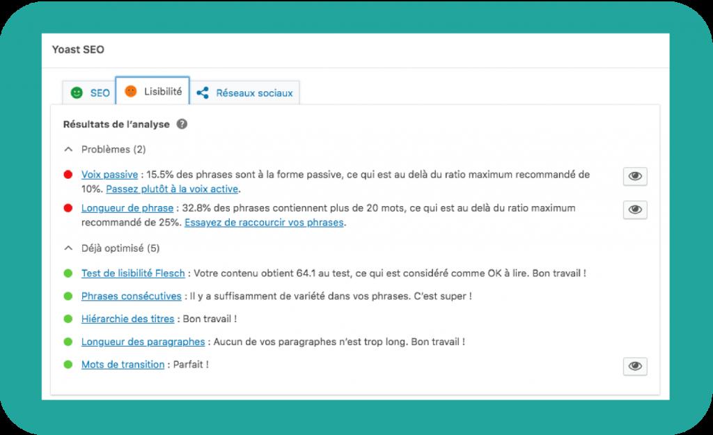 Exemple de conseils rédactionnels donnés par l'extension Yoast SEO