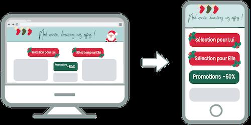 Aperçu de l'affichage mobile d'un site responsive